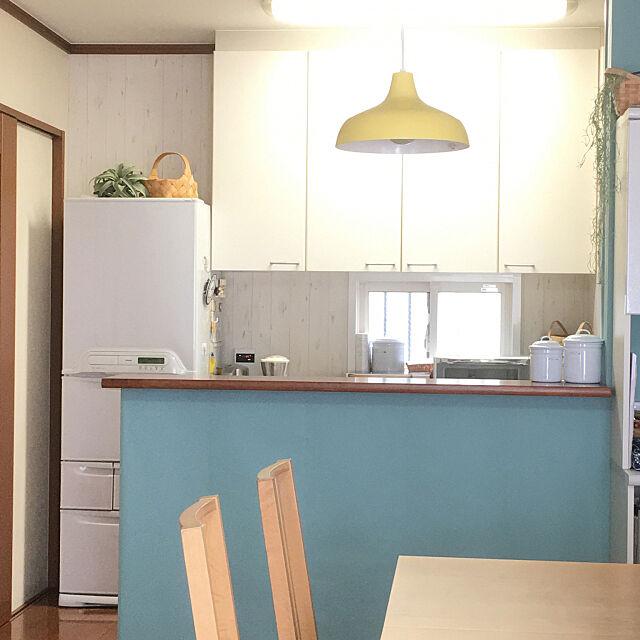 Kitchen,アクセントクロス,北欧ナチュラル,壁紙 木目,壁紙 白木目,アクセントカラー Sanaの部屋