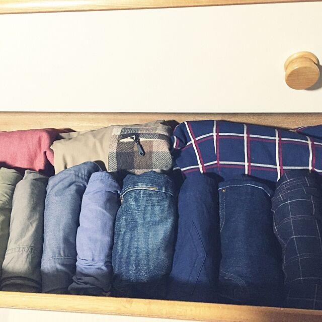 Bedroom,簡単,ただいま,ひさびさの投稿,掃除,冬服の収納,冬服,整理整頓,チェック,ジーンズ,ズボン,スカート,ボトムス,洋服収納,洋服,タンス収納,収納,箪笥,たんす,タンス miyufiの部屋