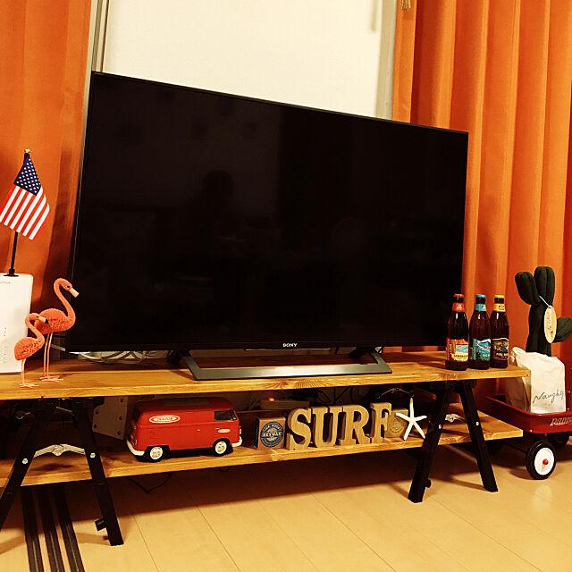 Lounge,アメリカン,インダストリアル,カインズホーム,脚立,RADIO FLYER,西海岸,カリフォルニアスタイル,テレビボードDIY,コーナン木材,ビーチハウス,ビーチハウス風,4Kテレビ,西海岸インテリア,カリフォルニアインテリアに憧れる,ワーゲンバスのおもちゃ,サーファーズハウスに憧れる,ピンクフラミンゴ nattsu0331の部屋