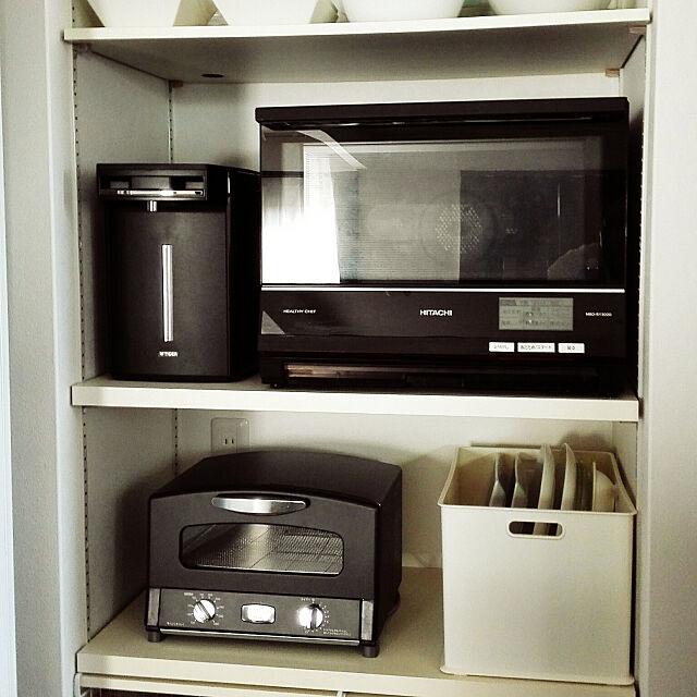 Kitchen,背面収納,ブラック,家電収納,タイガーとく子さん,電子レンジ リメイク,アラジントースター,アラジン トースター,オールブラック,お気に入り mariの部屋
