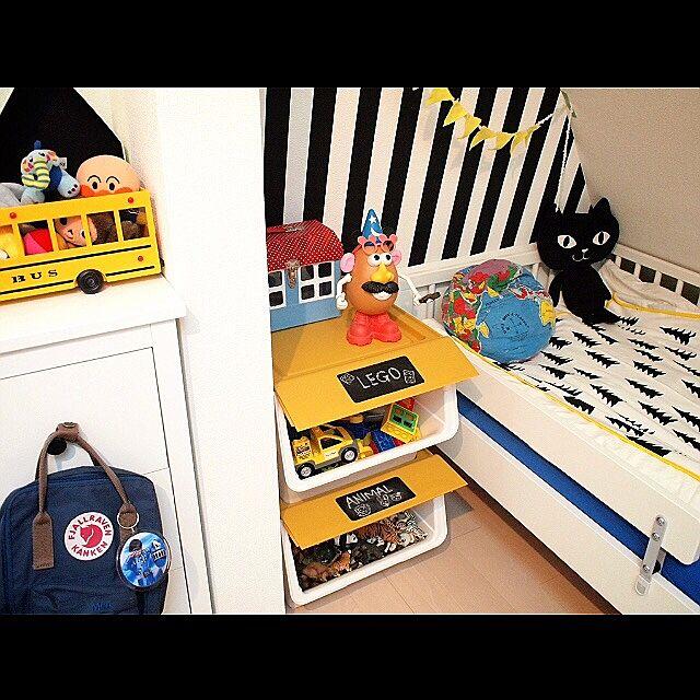 Bedroom,squ+,froq,白黒,こども部屋,子供部屋,IKEA,finelittleday hirooomiiiの部屋