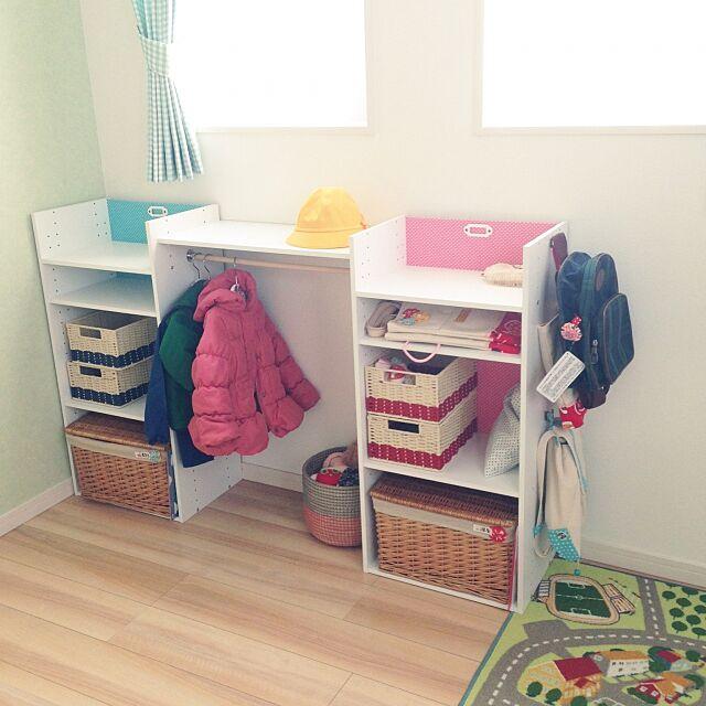 My Shelf,IKEAラグ,カゴ,ニトリのカラーボックス,ニトリ,カラボリメイク,幼稚園グッズ,こどもと暮らす。 chikoの部屋