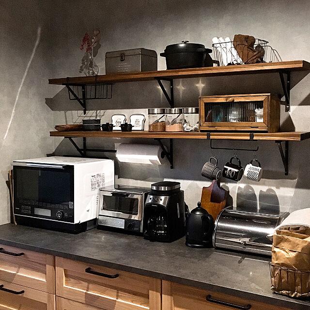 Kitchen,ミックススタイル,男前もナチュラルも好き,インダストリアル,男前,キッチン背面,キッチン収納,コーヒーメーカー,モニター当選,レコルト・モニター,FIKA(フィーカ),レコルト,FIKA,FIKA(フィーカ) Ryokoの部屋