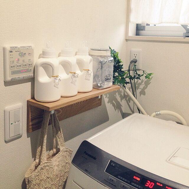 Bathroom,いつもいいね&コメありがとうございます♡,洗濯機周り,フェイクグリーン,フレッシュロック,洗剤用ボトル,ニトリの石膏ボード用の棚,mon・o・tone mikan0607の部屋