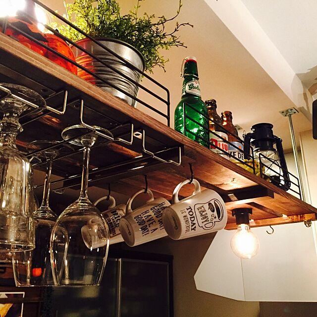 My Shelf,ビール瓶,フェイクグリーン,ワイングラスホルダー,セリアのマグカップ,吊り棚DIY,男前インテリア,いいね&フォローありがとうございます☆,RC大阪支部 ichiの部屋