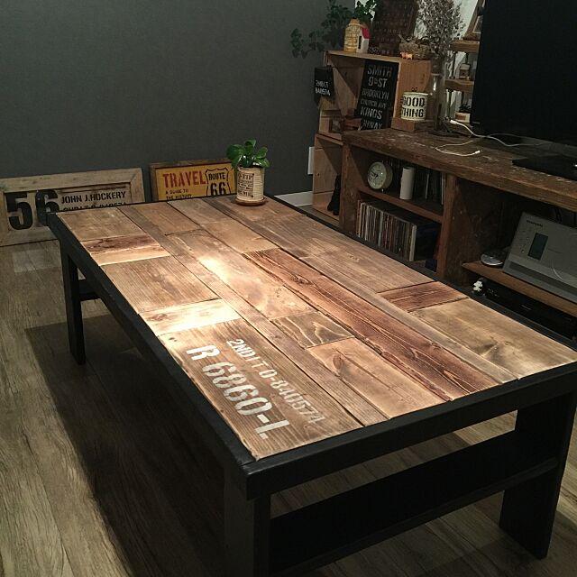 My Desk,ローテーブルDIY,端材,DIY,一人暮らし,ステンシル beansの部屋