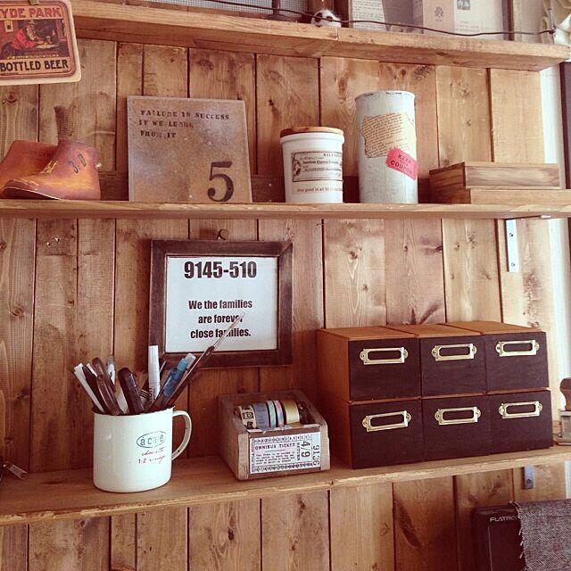 My Desk,リメイク,100均,セリア,手作り,かっこ良くしたい,DIY,板壁,ドロワーボックス kodakusan.sakiの部屋