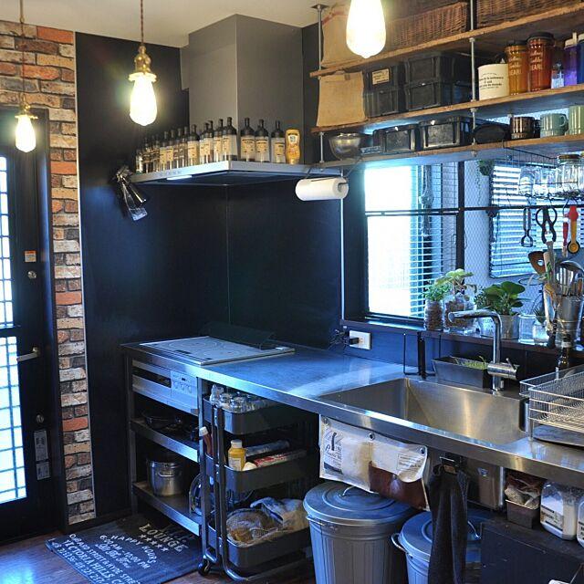 Kitchen,ブルックリンスタイル,オールステンレスキッチン,照明,生活雑貨,男前,DIY,ハンドメイド,猫よけフェンス,ねこと暮らす。,NO GREEN NO LIFE katsuwobushiの部屋