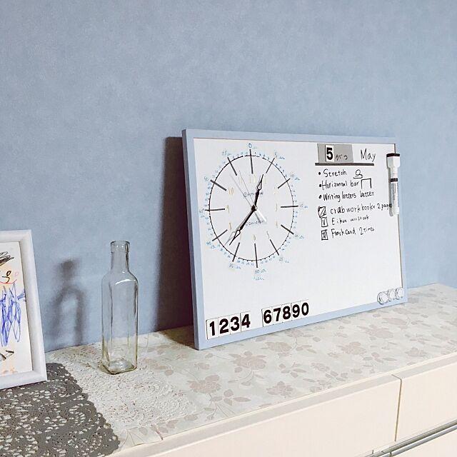 My Shelf,パステルブルー,時計のお勉強中♡,ToDoリスト,ホワイトボードアレンジ,時計DIY,手作り時計,時計,スペル違うかも? kawamの部屋