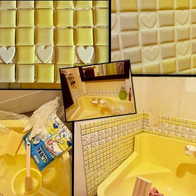 Bathroom,かび防止,水跳ね防止,タイル貼り,昔の写真,DIY,黄色い壁,セルフリフォーム,マンション,洗面所DIY,ビフォーアフター,プロヴァンス風,洗面台,サニタリールーム?,洗面所,変えたいけどー、まだ早いよね? tarezo33の部屋