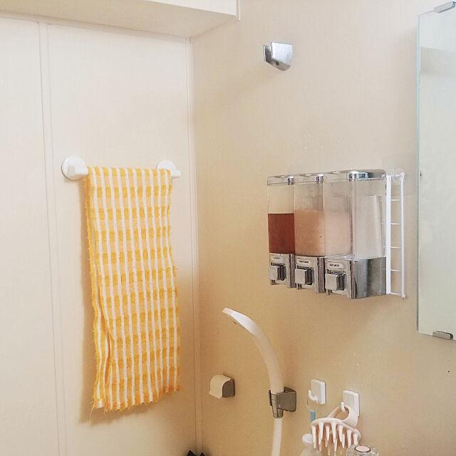 Bathroom,一人暮らし,ディスペンサー,シャンプーボトル,壁付けディスペンサー,壁掛けディスペンサー raiの部屋