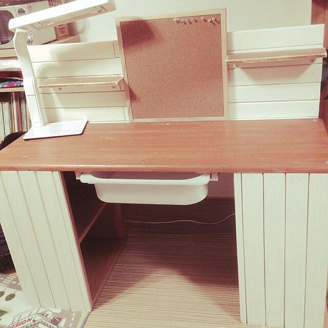 My Desk,カラーボックス,すのこで板壁風,IKEA引き出し,勉強机,DIY mi-ri-na-muの部屋