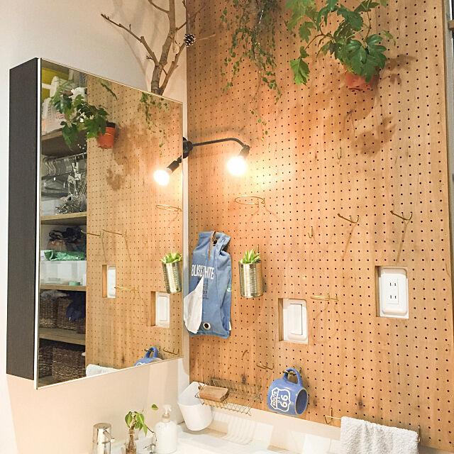 Bathroom,c-line,Panasonic洗面台,ペグフック,洗面所,DIY,有孔ボード,ペグボード Hanakoroの部屋