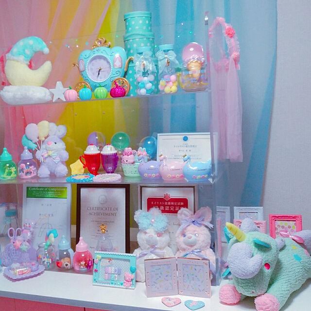My Shelf,缶バッジ,リトルツインスターズ,ユニコーン,SWIMMER,ハンドメイド雑貨,ゆめかわいい,パステルピンク,パステルパープル,パステルカラー,オーガンジーカーテン,ネイル部屋,ネイルディプロマ kuma_nailistの部屋