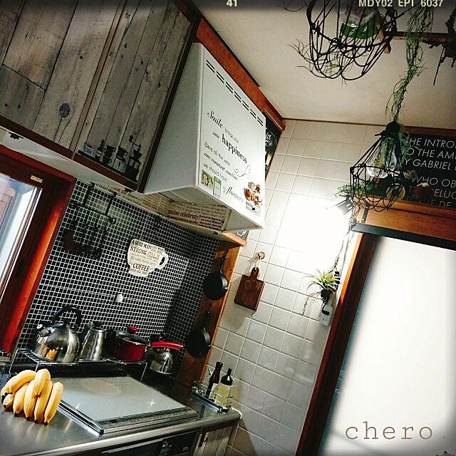 Kitchen,ダイソー,セリア,ニトリ,LIXIL,フェイクグリーン,壁紙屋本舗,リメイクシート,クリップライト,ラダー chero.の部屋