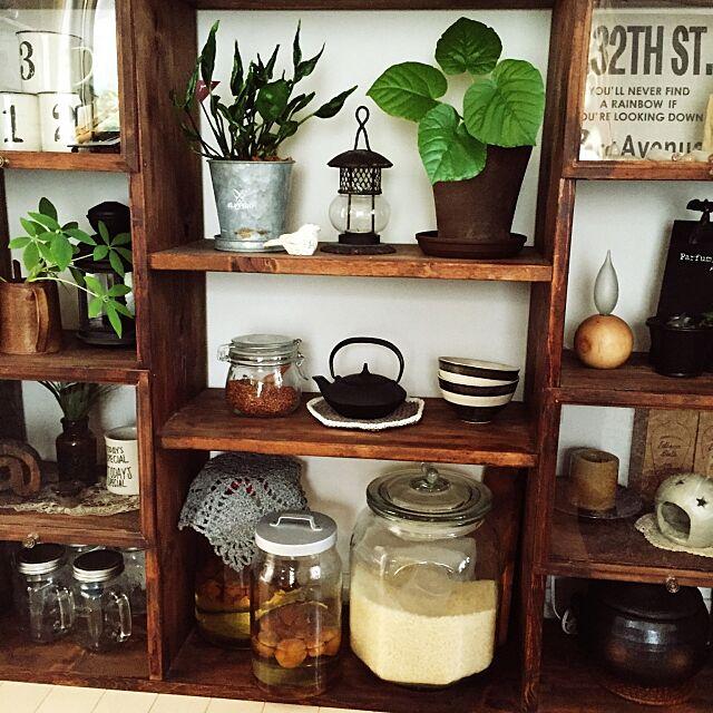 Overview,ランタン,セリア,米びつ瓶,ダイソー,南部鉄器,手づくり棚,観葉植物 chisaの部屋