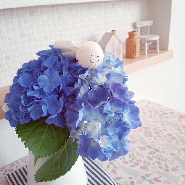 My Desk,かわいいもの♡,あじさい,イケア,てるてる坊主,ダイニングテーブル,お花 hanapopoの部屋