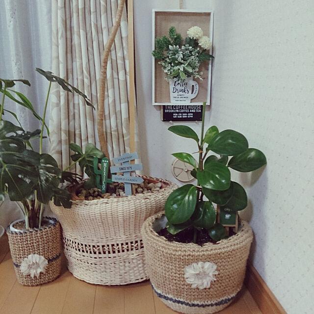 Overview,鉢カバー,セリア,トイレ棚の飾り♥,はんどめいど♪,エコクラフト鉢カバー yukimaruの部屋