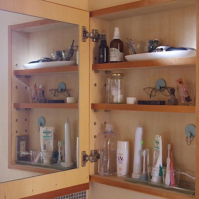 ヘアゴム収納,めがね収納,洗面所,洗面所 収納,壁紙用フック,暮らしを楽しむ,コマンドフック,ウォールデコレーション,壁,My Shelf sugomoliの部屋