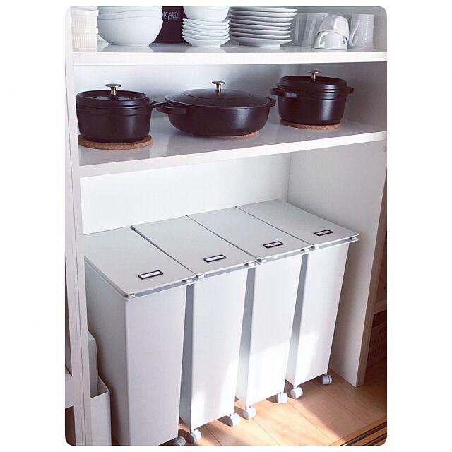 Kitchen,STAUB,ゴミ箱,無印良品,IKEA,mon・o・tone,グレー,シンプル,ホワイト,モノトーン,キッチン収納,スッキリ,愛用品 Hana.の部屋