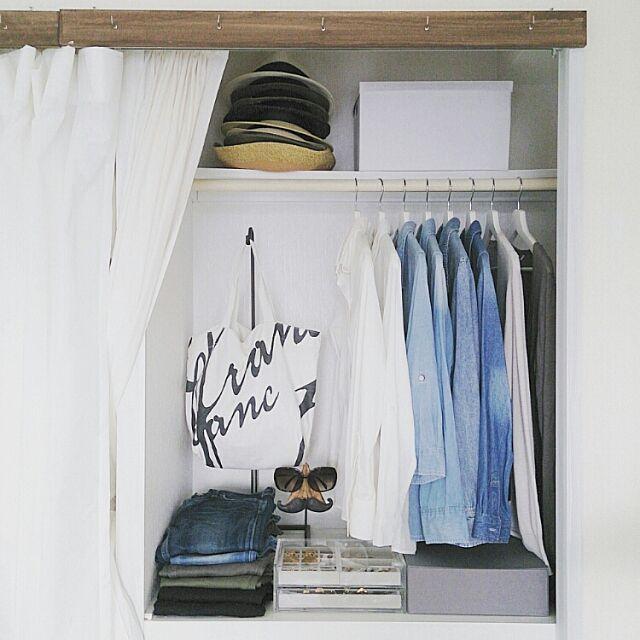 関西好きやねん会,インスタ→achipetit,カーテン,ハンドメイド,衣替え,IKEA,無印良品,a.depeche,クローゼット,収納,スッキリ,私の部屋,ak3-収納 ak3の部屋