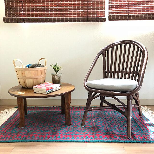 Lounge,ちゃぶ台,籐椅子,ラタンチェア,キリム,一人暮らし,1R,ひとり暮らし hiraの部屋