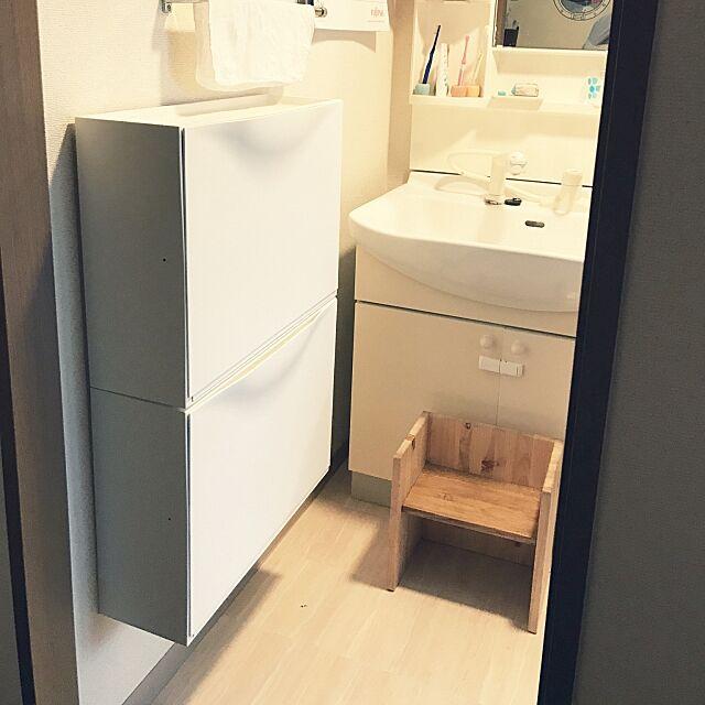 Bathroom,無印良品,踏み台,タオル収納,シューズボックス,IKEA,賃貸でも諦めない!,狭い,洗面所,脱衣所,収納,楽天で買ったもの,狭いスペースを生かしたい awoの部屋