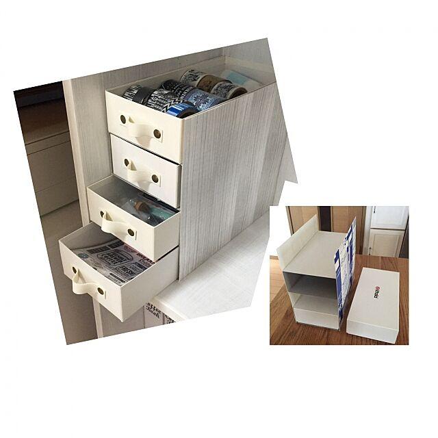 My Shelf,セリア,押しピン,合皮,エコ部,空箱リメイク,牛乳パックリメイク,工作,ウォールラインステッカー(木目) Kaneyukiの部屋