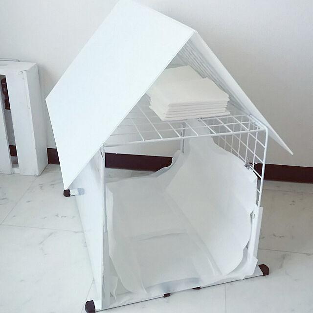 Lounge,いぬと暮らす,犬用トイレ,100均,ペット用品収納,ワイヤーネット,ワイヤーネットスタンド,プラダン nonの部屋