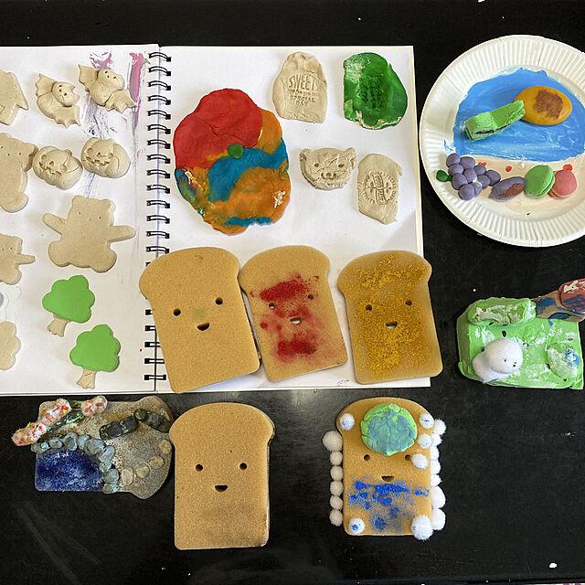 おうちあそび,コゲ食パンスポンジ,工作,水彩絵の具,ふわっと軽い粘土,こむぎねんど,木粉ねんど,おうち時間を楽しむ,ダイソー,Overview gyaos2の部屋