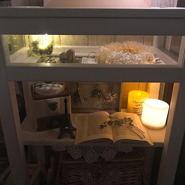 My Desk,ナチュラルインテリア,ガラスショーケース,ハンドメイド家具LaLaLa,マルティネリライト,チェッカーガラス,ディスプレイコーナー,暗くてすみません。,連投ですみません,これさえあれば、わたしの部屋,いつもありがとうございます♡ megusanの部屋