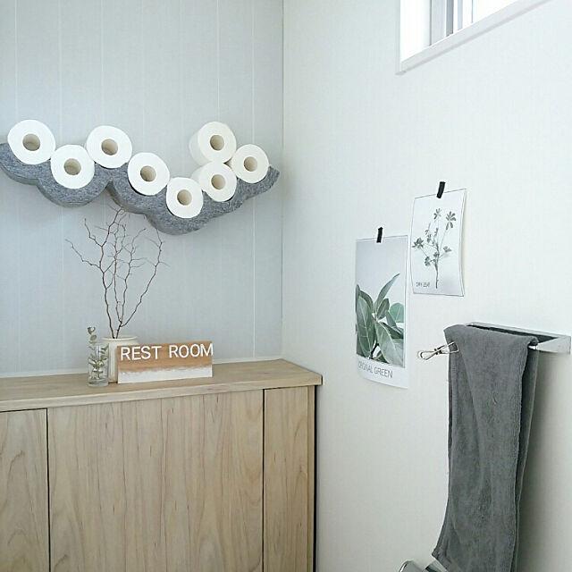 Bathroom,グレー,DIY,ハンドメイド,モノトーンナチュラル,タオル,トイレットペーパーホルダー,植物ポスター自作,ig→mimt38 mi-の部屋