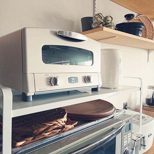 My Shelf,シンプル,白,塩系インテリア,いなざうるす屋さん,マンションリノベーション,無印良品,アラジントースター ホワイト,towerシリーズ karinの部屋