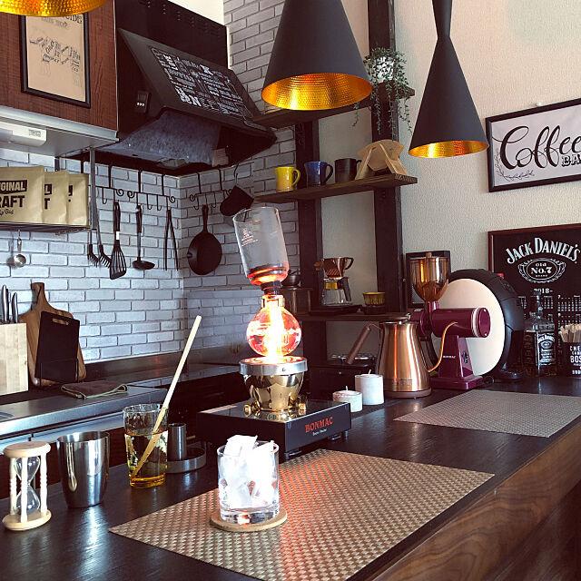 誰かケーキ買ってきて,氷もりもり,カウンターテーブル,えげつない暑さ,コーヒーのある暮らし,1LDK,ひとり暮らし,珈琲,カフェ風,コーヒー,アイスコーヒー,サイフォン,Kitchen masaomiの部屋