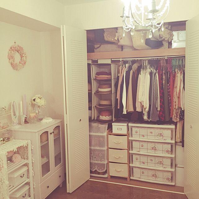 My Shelf,3Coins,クローゼット収納,シャンデリア,衣装ケース,IKEA,クローゼット,ドンキホーテ,リメイクシート,100均,団地,賃貸,ガーリー,salut!,寝室,レースが好き♥︎,姫部屋,整理収納部 mimitanの部屋