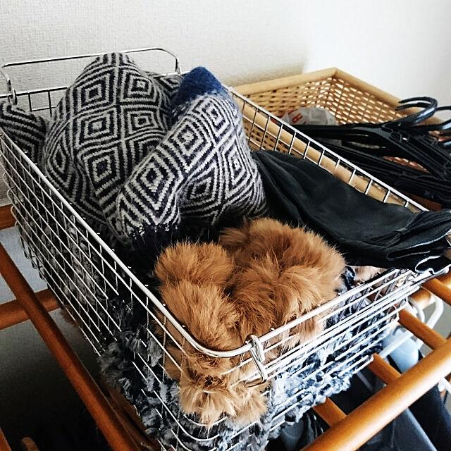My Shelf,無印良品,カゴ収納,防寒具,マフラー収納,手袋収納,ニット帽収納 ariの部屋