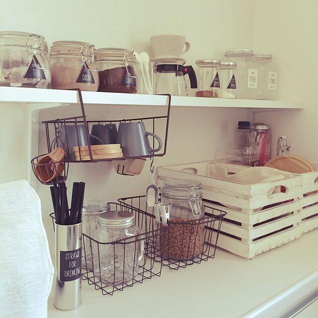 Kitchen,ガラス瓶,セリア,DIY,salut!,キッチン収納棚,みせる収納,カフェコーナー 32の部屋