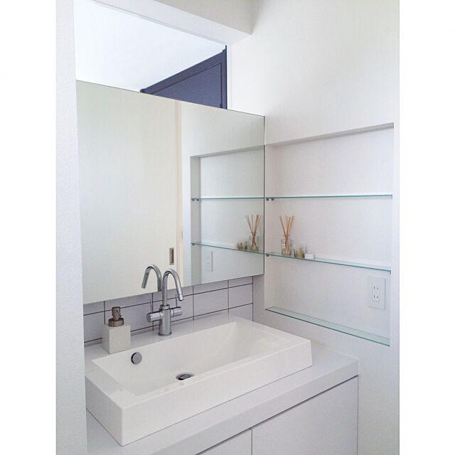 Bathroom,洗面所,ミニマリスト,すっきりとした暮らし,シンプル 白,シンプル,白が好き,隠す収納 maikichiの部屋