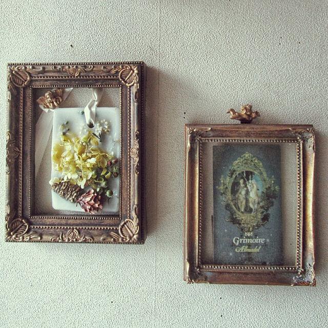 On Walls,壁,アンティーク,写真立て,シャビーシック,ポストカード,雑貨,フレンチシック,DIY,メゾンドフルール,Maison de FLEUR,ワックスバー,アロマ,グリモワール tommyの部屋