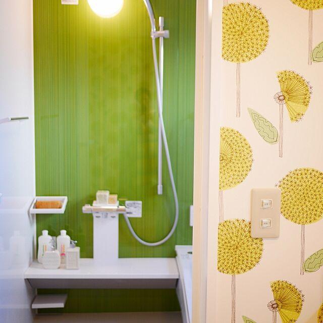 Bathroom,癒しの空間,バスルーム ,オープンハウスのときの写真,ルオント,ポップなお家,北欧,北欧風,洗面所の壁,クロス柄,インターデコハウス,マイホーム完成 menmeの部屋