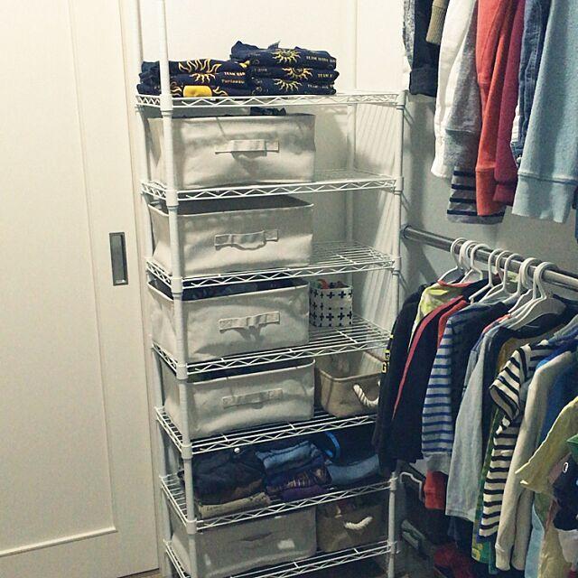 My Shelf,吊るすと畳むを使い分け,ソフトボックス,無印良品,白,スチールラック,ニトリ,収納 muuの部屋