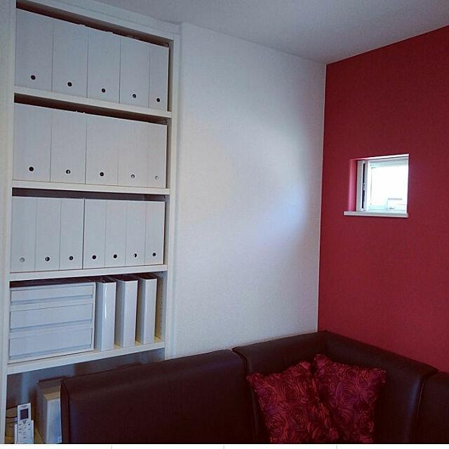 My Shelf,無印良品,ファイルボックス,ファイルケース,収納,書類収納,造作本棚,造作棚,リビング収納,収納棚,無印,アクセントクロス,ホワイトインテリア,ホワイト,差し色は赤,オープン棚,オープン収納,オープンシェルフ,オープンラック,オープンボックス Himeの部屋