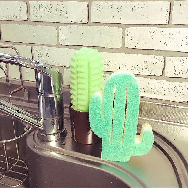 Kitchen,サボテンスポンジ,ダイソー,築40年,ダイソーリメイクシート hmskr0319の部屋