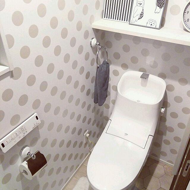 Bathroom,壁紙,イベント参加中,サンゲツ,水玉模様,ドット柄,モノトーン,大人可愛い,2Fトイレ colonの部屋