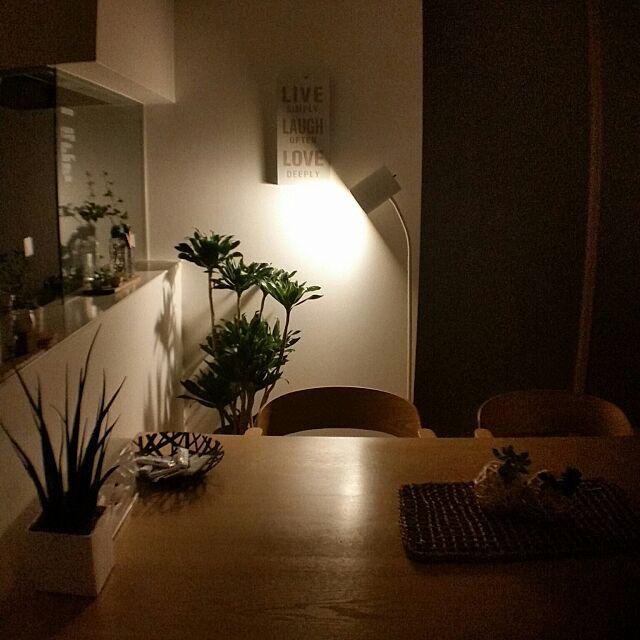 グリーンのある暮らし,ナチュラルが好き,観葉植物,ナチュラルインテリア,ナチュラル,間接照明,ニトリフロアランプ,ニトリアートパネル,模様替え,On Walls chieの部屋