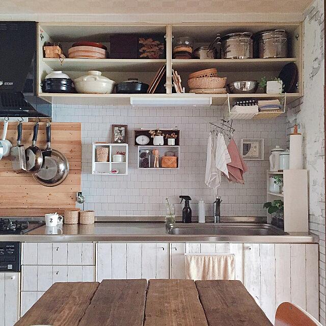 Kitchen,リメイクシート,足場テーブル,ナチュラル,植物,賃貸DIY,シンプルインテリア,古い団地,見せる収納,キッチン雑貨,カゴ natuの部屋