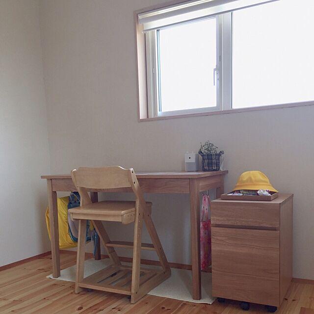 My Desk,勉強机,ニトリ,無印良品,学習机,子供部屋,珪藻土の塗り壁,子供と暮らす,無垢の床 m.r.s.の部屋