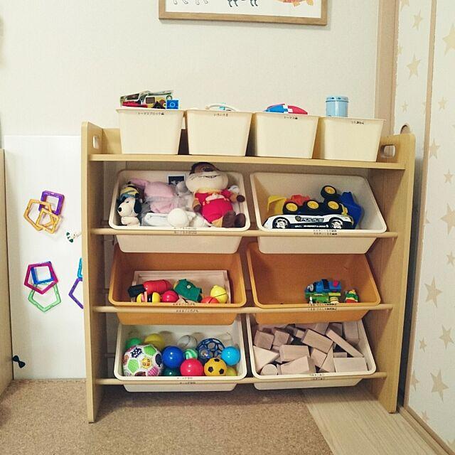My Shelf,おもちゃ収納,おかたづけ育,分類,テプラ,こどもと暮らす。,キッズスペース,和室を子供部屋に,seria,整理収納部,マンション,ざっくり収納 Yunの部屋