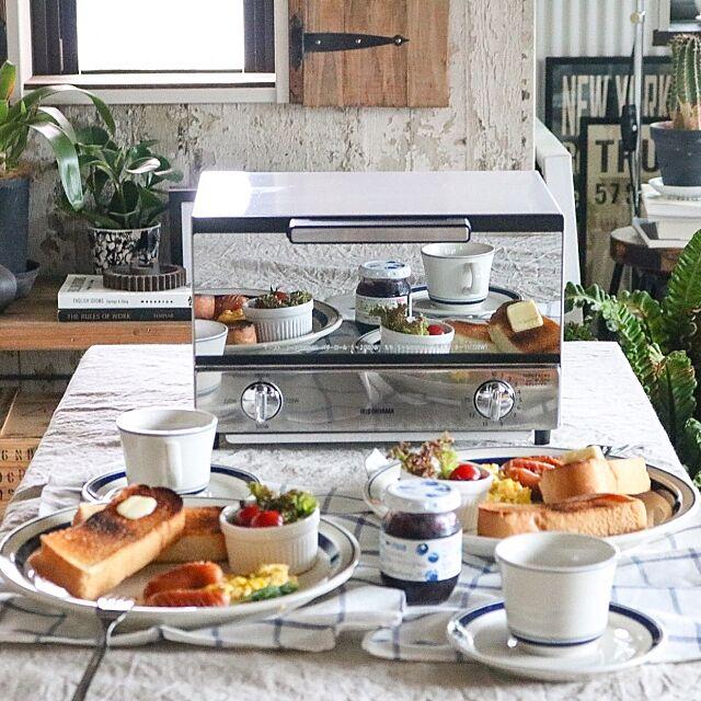 My Desk,ダイニングテーブル,食卓,朝食,トースター,ミラートースター,アイリスオーヤマ,ブログ更新しました♡,インテリア×料理 yupinokoの部屋
