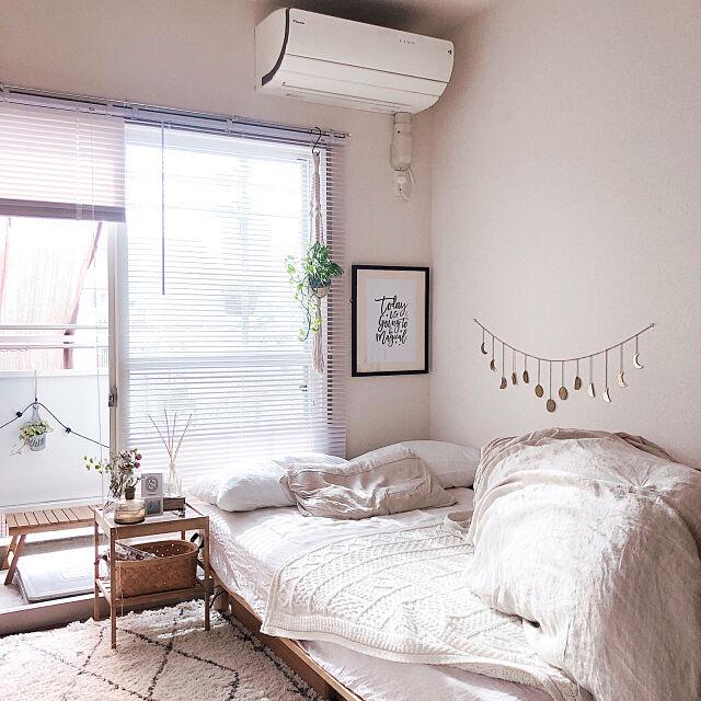 一人暮らし,ワンルーム,カフェ風,ラグ,北欧,観葉植物,一人暮らしインテリア,無印良品,ワンルームインテリア,ナチュラル,プロジェクターのある部屋,IKEA,ベッドルーム,Overview cocoの部屋